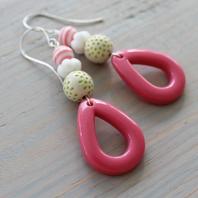 Lucite Hoop and Vintage Lucite Earrings - The Cheri Earrings