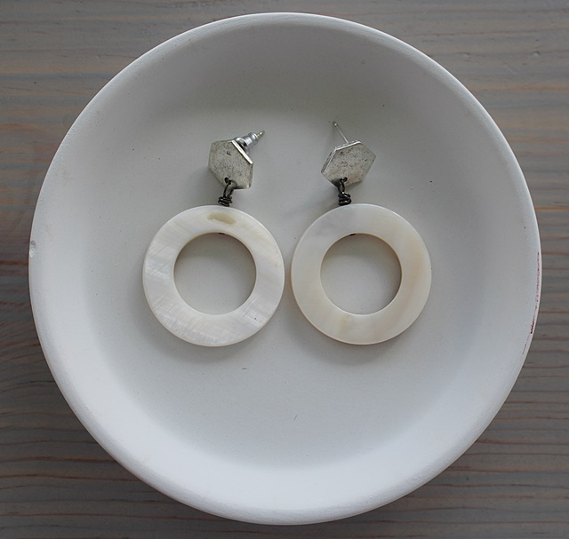 Mother of Pearl and Silver Post Earrings - The Lucy Earrings