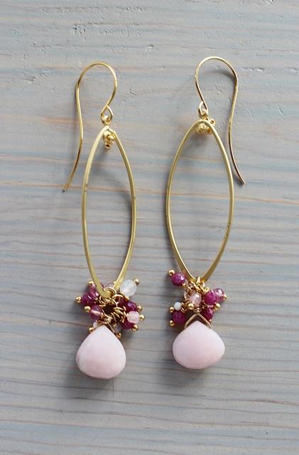 Pink Opal and Mixed Gem Cluster Earrings - The Chloe Earrings