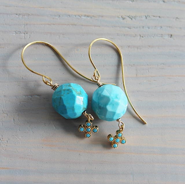 Faceted Turquoise and Turquoise Charm Earrings - The Biscayne Earrings