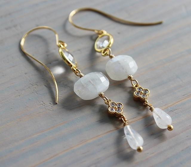 Moonstone and Clear Quartz Earrings - The Louisa Earrings