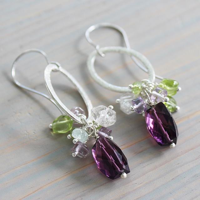 Amethyst Cluster Earrings on Sterling Silver Hoop - The Cynthia Earrings