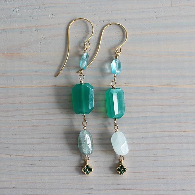 Green Quartz and Aquamarine Earrings - The Meadow Earrings