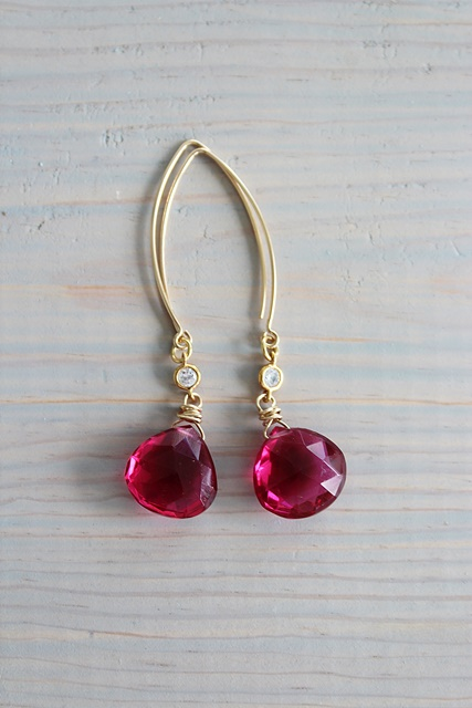 Ruby Quartz Earrings - The Ruby Earrings