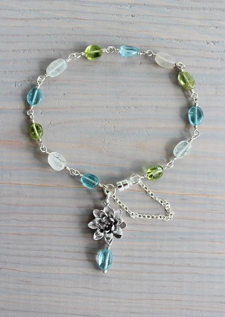 Aqua Quartz, Peridot, and Aquamarine Charm Bracelet - The Spring Bracelet
