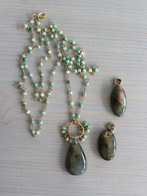 Labradorite and Green Chrysoprace Necklace - The Sonya Necklace