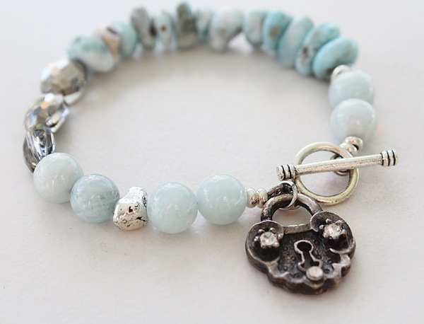 Aquamarine, Larimar, and Glass Bracelet - The Leah Bracelet