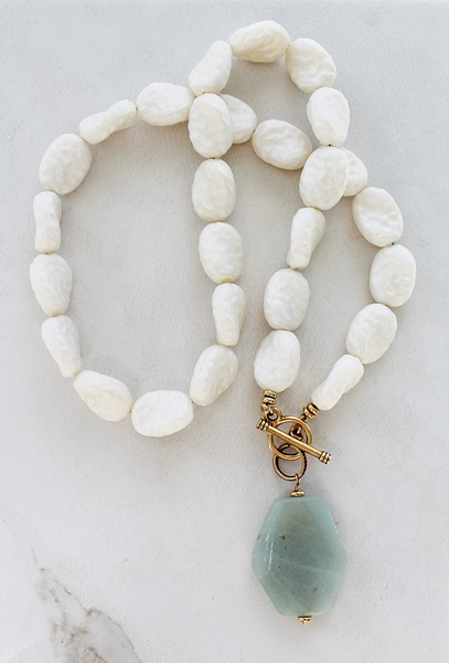 Vintage Lucite and Amazonite Necklace - The Makala Necklace