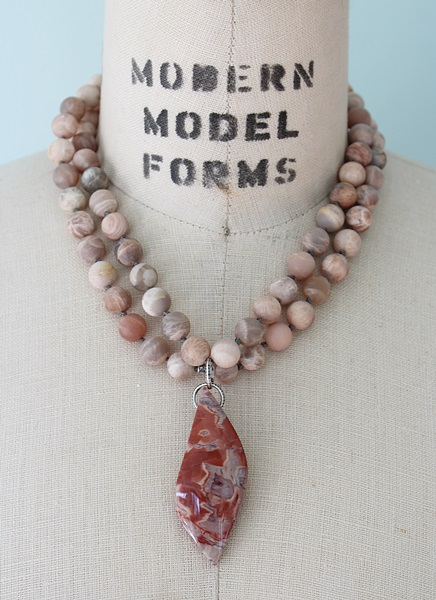 Matte Australian Moonstone and Agate Necklace (OOAK) - The Bronwyn Necklace