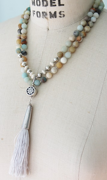 Matte Amazonite  Handknotted Tassel Necklace - The Santa Cruz Necklace