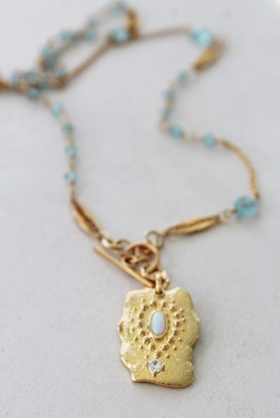 Apatite and Opal and Zircon Pendant - The Celeste Necklace