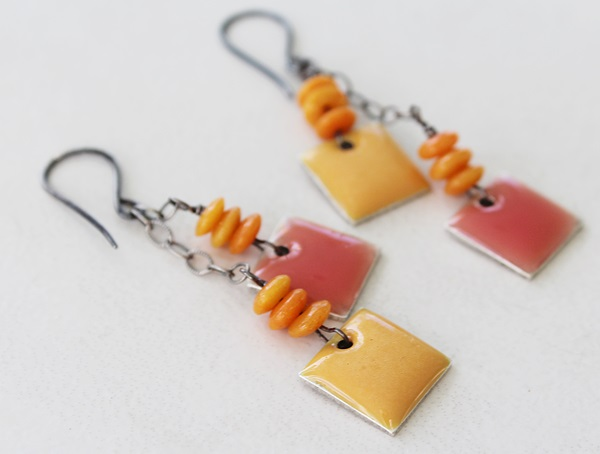 Sunflower and Coral Resin Earrings - The Kimi Earrings