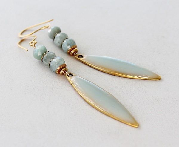 Aquamarine and Handmade Resin Earrings - The Newport Earrings