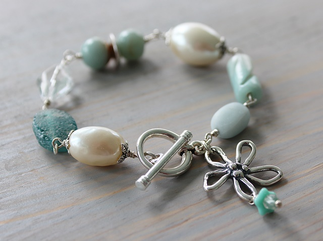 Mixed Gem and Sterling Silver Bracelet - The Beach Daisy Bracelet