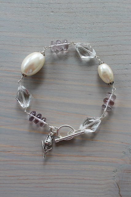 Pink Quartz, Miriam Haskell Pearls and Clear Glass - The Avery Bracelet