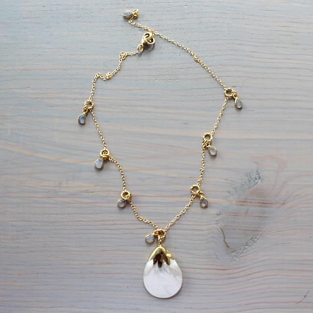 Mother of Pearl Shell and Moonstone Drop Necklace - The Joely Necklace