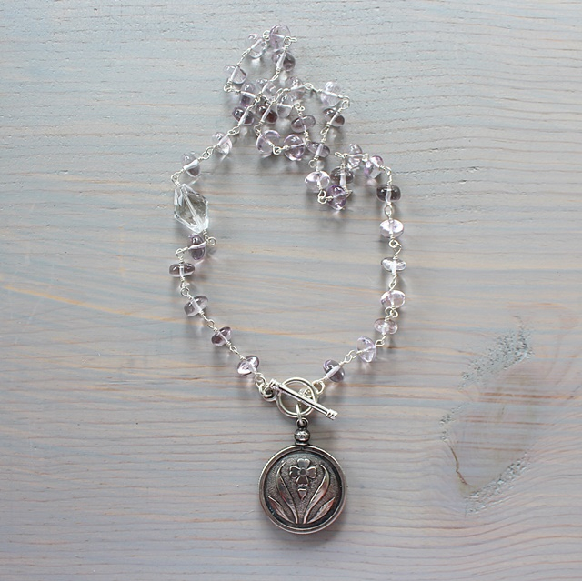 Pink Quartz and Floral Pendant - The Avery Necklace