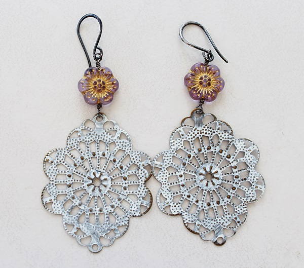 White Filigree and Flower Earrings - The Poppy Earrings