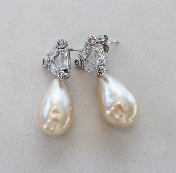 Vintage Miriam Haskell Pearls and CZ Post Earrings - The Vera Earrings