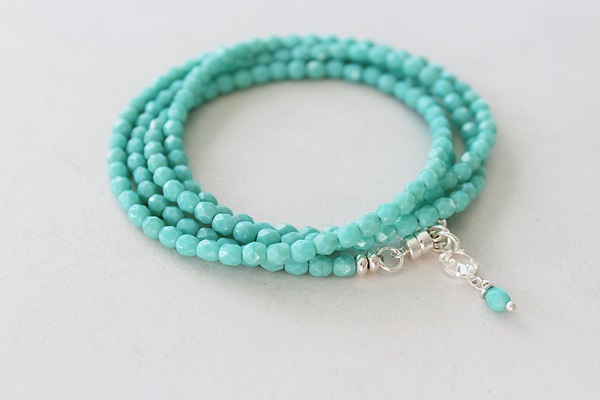 Coral or Matte Aqua Quad Wrap Bracelet or Necklace - The Biscayne Bracelet