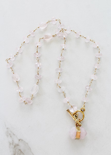 Rose Quartz and Gold Necklace - The Yardley Necklace