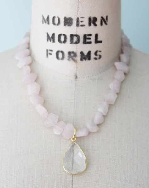 Chunky Rose Quartz Necklace with Clear Quartz Pendant - The Ainsley Necklace