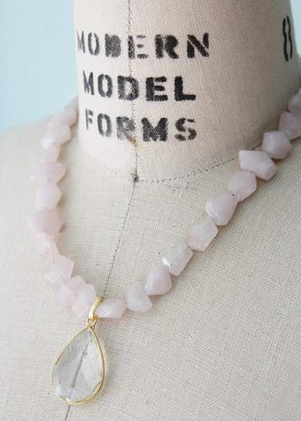 Chunky Rose Quartz Necklace with Clear Quartz Pendant - The Ainsley Necklace