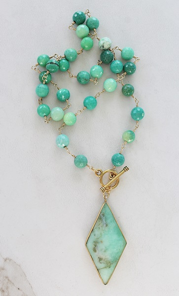 Green Opal and Chrysoprace Necklace - The Briana Necklace