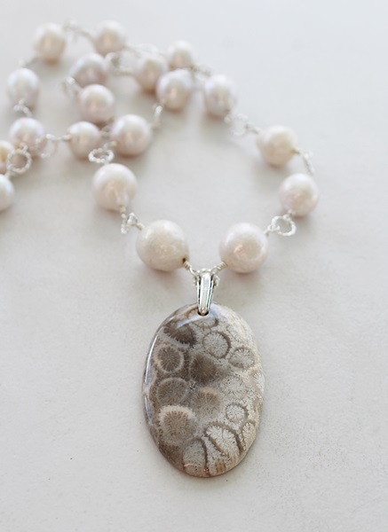 Fresh Water Pearl and Fossil Coral Necklace - The Ellis Necklace