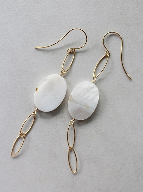 Mother of Pearl and 14kt Gold Earrings - The Evan Earrings