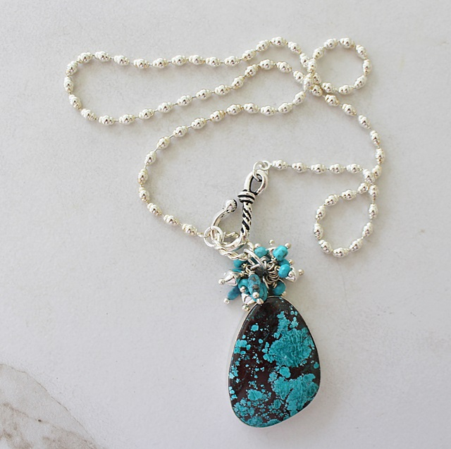 Turquoise Sterling Silver Pendant Cluster Necklace - The Albuquerque Necklace