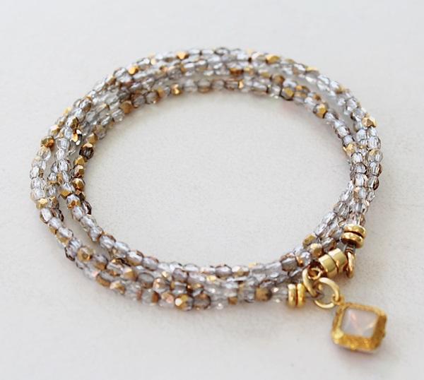 Clear/Gold Quad Wrap Bracelet or Necklace - The Nora Bracelet