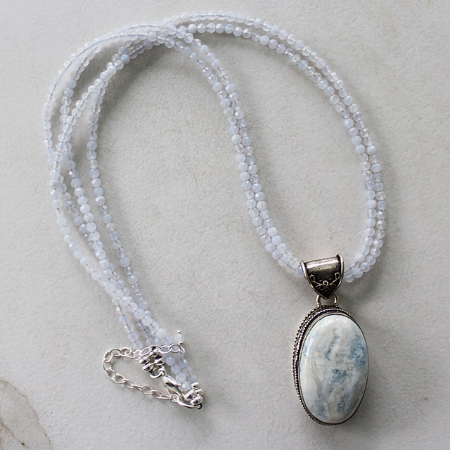 Blue Lace Agate Double Strand Necklace - The Gia Necklace