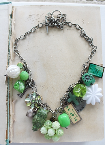 Market Day Trinket Necklace - Spring Green, State of Maryland License Tag, Owl