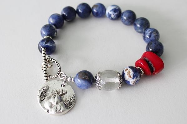 Sodalite, Coral, and Cherry Glass Bracelet - The Spring Sparrow Bracelet