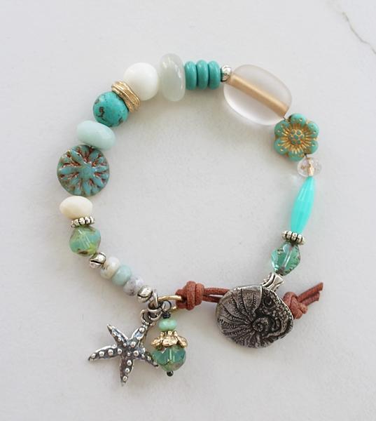 Mixed Gems and Vintage Glass Bracelet - The Seafarer Bracelet