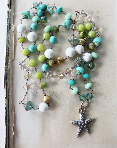 Mixed Czech Glass and Beaded Starfish Necklace - The Bimini Necklace