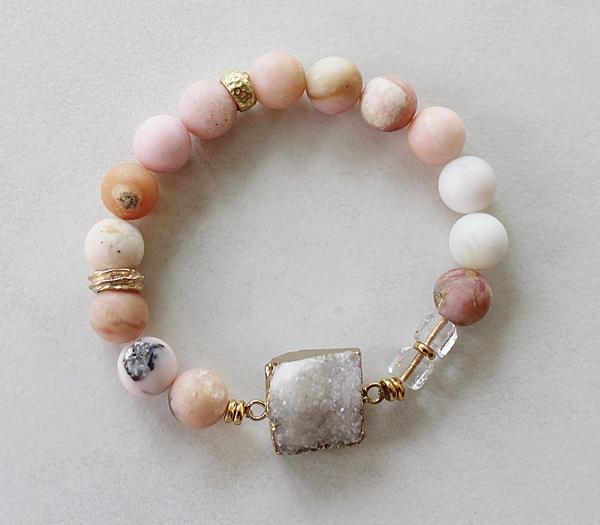Pink Opal and Druzy Stretch Bracelet - The Pressley Bracelet