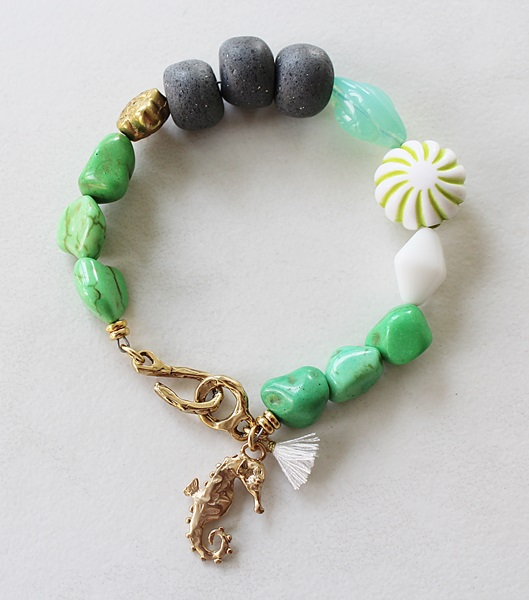 Mixed Glass Sea Horse Bracelet - The Sanibel Bracelet