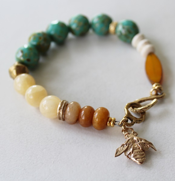 Mixed Glass, Yellow Jade, and Riverstone Bracelet - The Bee Bracelet
