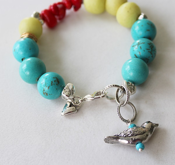Mixed Glass, Magnesite and Silver Bird Charm Bracelet - The Robin Bracelet