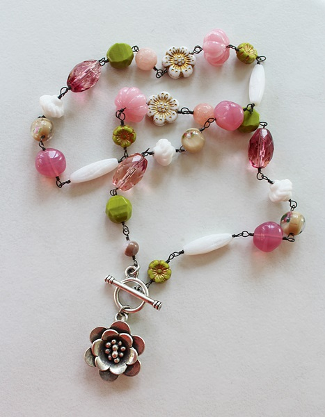 Mixed Czech Glass Necklace - The Peony Necklace