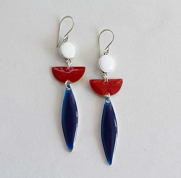 Summer Colorblock Earrings - Red/White/Blue