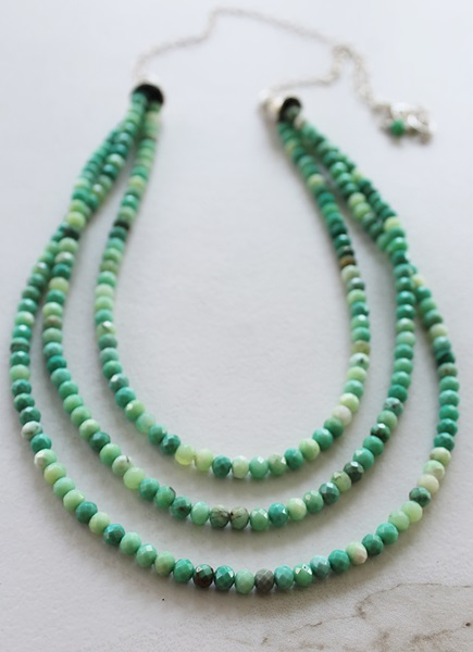 Green Opal Three Layer Necklace - The Marbella Necklace