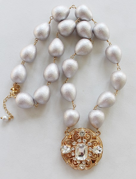Vintage Glass and Rhinestone Necklace - The Vivian Necklace