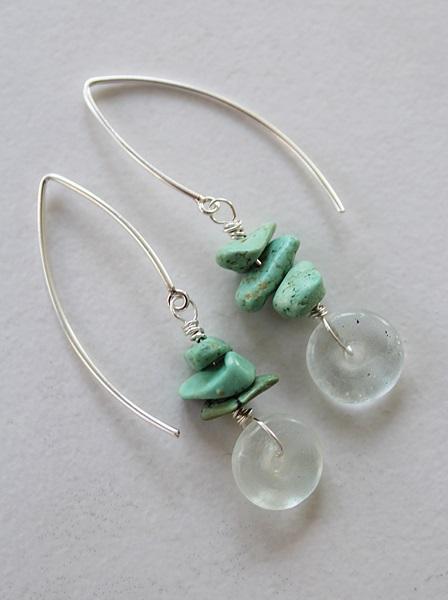 Blue or Clear Recycled Glass Earrings - The Rhonda Earrings