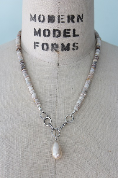 Australian Opal Disc and Miriam Haskell Pearl Necklace - The Amelia Necklace
