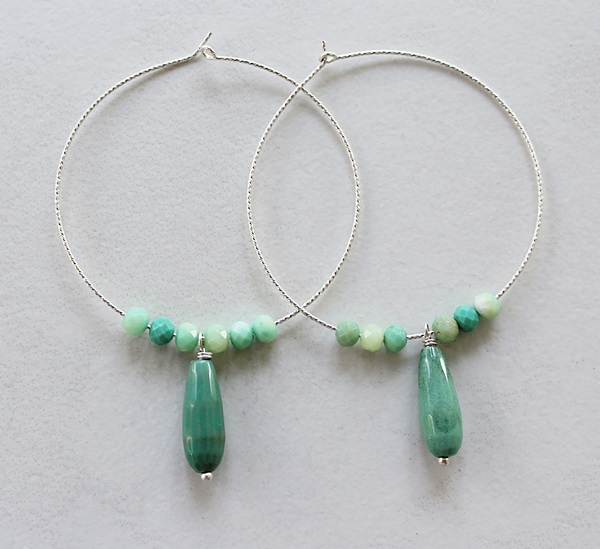 Green Opal Hoop Earrings - The Zoe Earrings