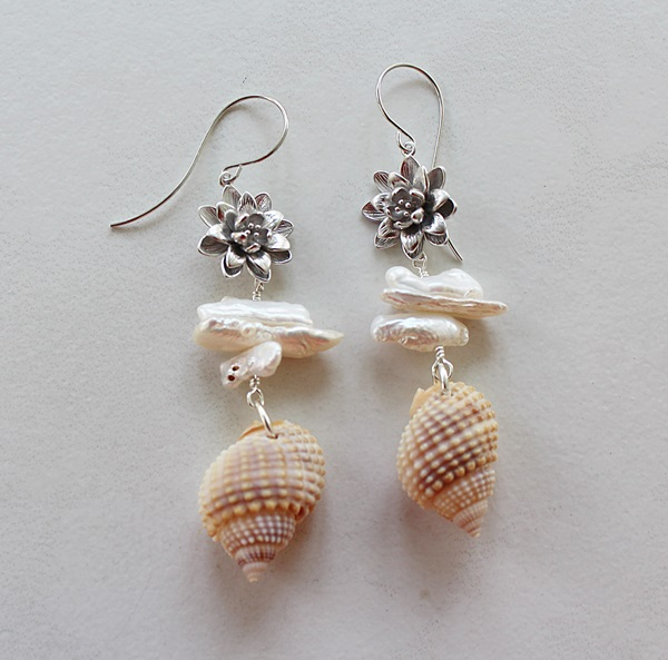Shell, Fresh Water Pearl and Flower Earrings - The Majorca