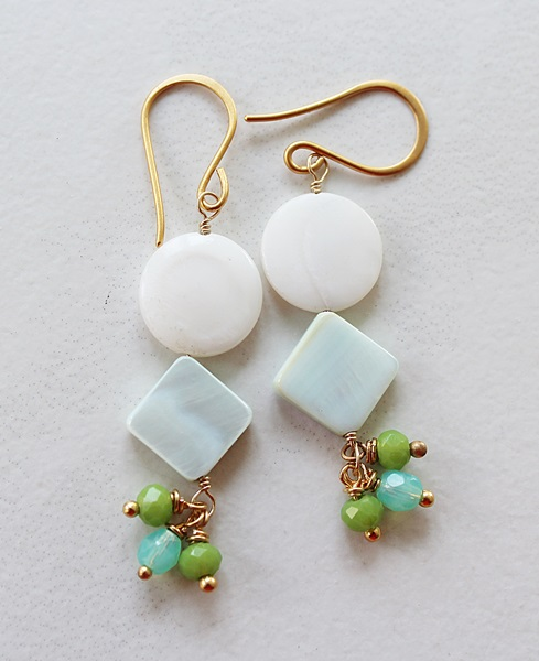 Mother of Pearl, Shell, and Mixed Glass Earrings - The Sigrid Earrings